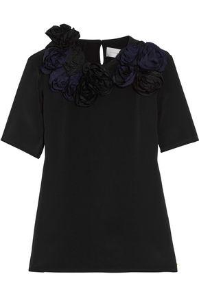 VICTORIA, VICTORIA BECKHAM Floral-appliquéd silk-crepe top