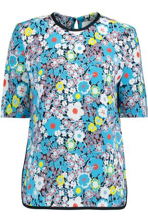 VICTORIA, VICTORIA BECKHAM Silk-trimmed printed crepe top