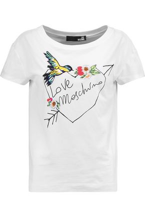 LOVE MOSCHINO Embroidered cotton-blend T-shirt