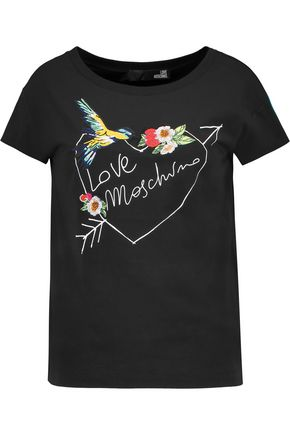 LOVE MOSCHINO Embroidered stretch-cotton T-shirt