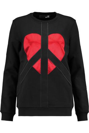 LOVE MOSCHINO Satin-paneled cotton-jersey sweatshirt