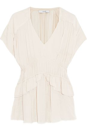 IRO Ruched washed-satin blouse