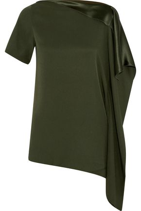 AMANDA WAKELEY Satin-trimmed draped crepe top