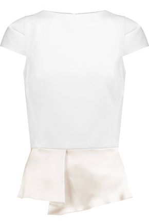AMANDA WAKELEY Horizon silk satin-paneled crepe top