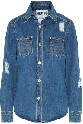 MOSCHINO Distressed embroidered denim shirt