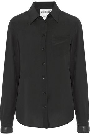 MOSCHINO Faux leather-trimmed silk crepe de chine blouse