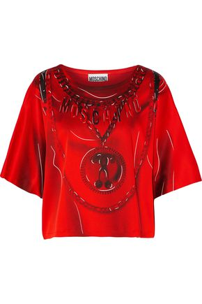 MOSCHINO Printed satin-crepe top