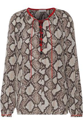 ALTUZARRA Monterey lace-up snake-print silk-georgette top