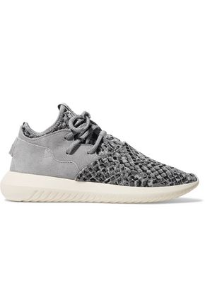 ADIDAS ORIGINALS Tubular Entrap suede-paneled stretch-knit sneakers
