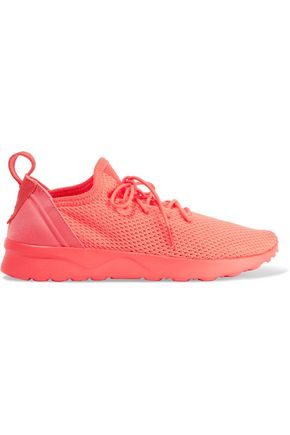 ADIDAS ORIGINALS Neon neoprene-trimmed stretch-knit sneakers