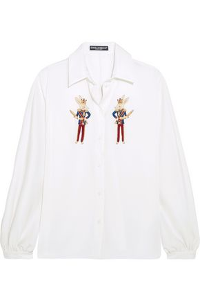 DOLCE & GABBANA Embellished silk-charmeuse shirt