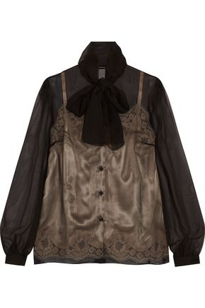 DOLCE & GABBANA Silk-chiffon and lace blouse