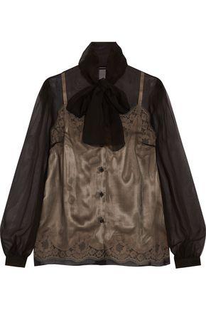DOLCE & GABBANA Silk-chiffon and lace blouse