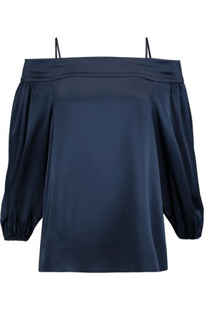 TIBI Cold-shoulder silk-satin top