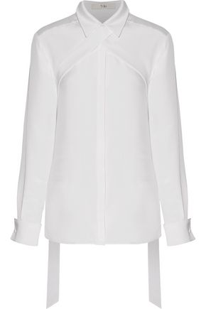 TIBI Tied silk crepe de chine blouse
