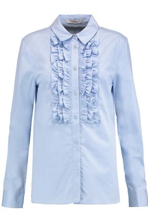 TIBI Ruffle-trimmed cotton-poplin shirt
