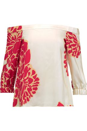 TIBI Orla off-the-shoulder printed silk-satin top