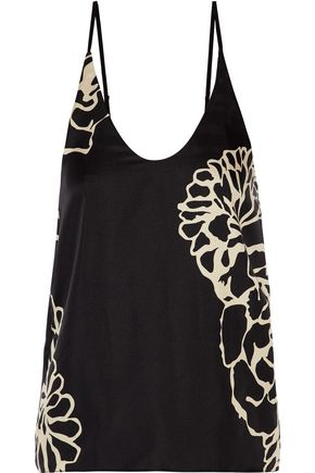 TIBI Orla printed silk-satin twill top
