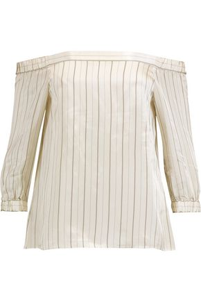 TIBI Off-the-shoulder striped satin-twill top