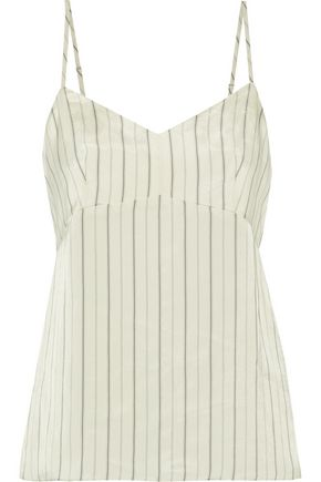 TIBI Striped satin-twill top