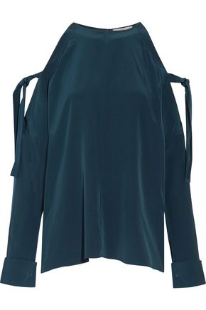 TIBI Cold-shoulder silk crepe de chine blouse