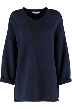 IRO Mélange jersey-paneled ribbed cotton-blend jersey sweatshirt