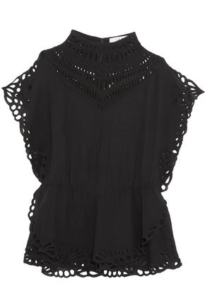 IRO Layered broderie anglaise-trimmed gauze top