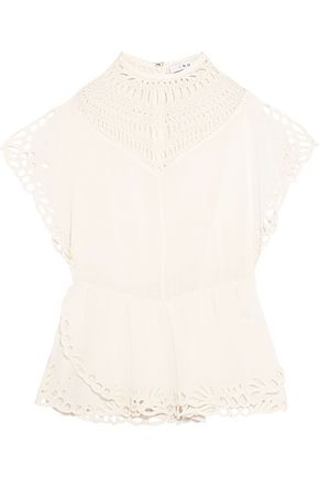 IRO Embroidered broderie anglaise crepe top
