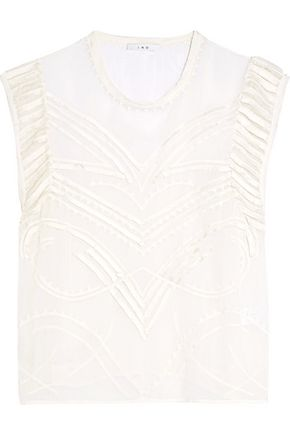 IRO Fringed embroidered georgette top