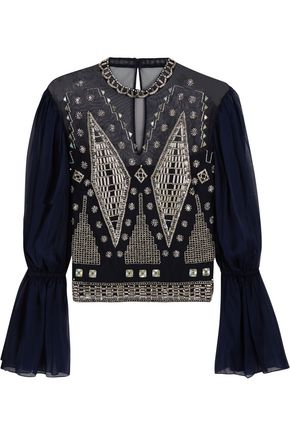 TEMPERLEY LONDON Lantern embellished silk-blend top