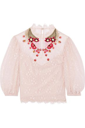 TEMPERLEY LONDON Leo embroidered lace top
