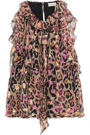 TEMPERLEY LONDON Ruffled leopard-print metallic fil coupé silk top