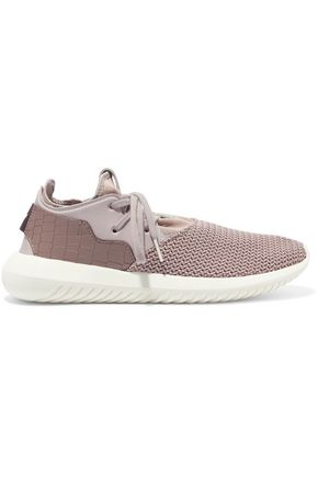 ADIDAS ORIGINALS Snake-effect leather and neoprene-paneled stretch-knit sneakers