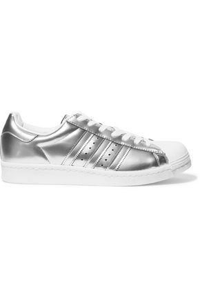 ADIDAS Superstar scuba-paneled metallic leather sneakers