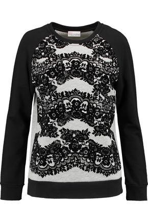 REDValentino Flocked-paneled cotton-blend jersey sweatshirt