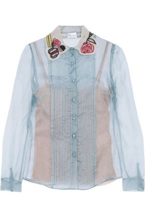 REDValentino Embroidered silk top