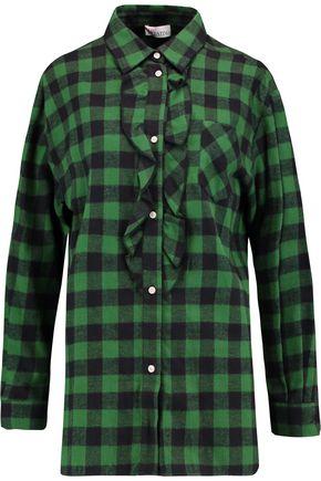 REDValentino Ruffled checked flannel shirt