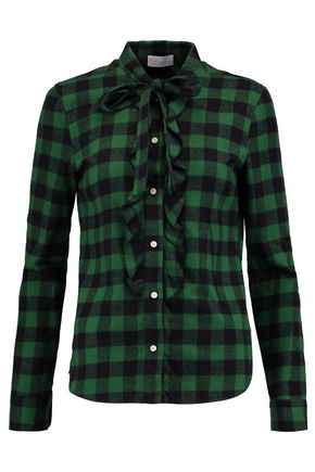 REDValentino Pussy-bow ruffle-trimmed checked brushed cotton shirt