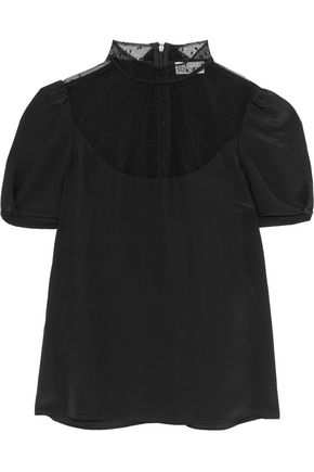 REDValentino Swiss dot tulle-paneled silk top