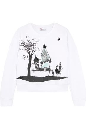REDValentino Embellished printed cotton sweatshirt