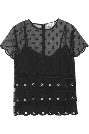 REDValentino Eyelet-embellished embroidered silk-organza top
