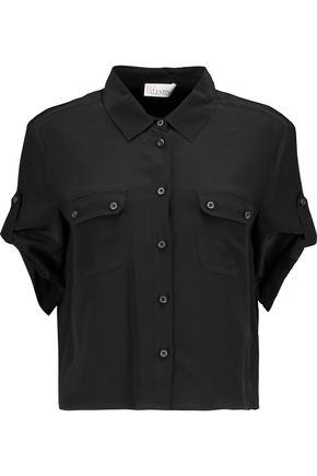 REDValentino Cropped silk-crepe shirt