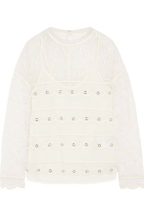 REDValentino Scalloped eyelet-embellished mesh top
