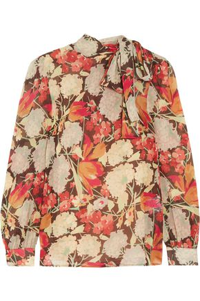 REDValentino Pussy-bow printed chiffon blouse