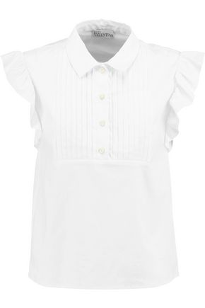 REDValentino Pintucked cotton-blend poplin shirt