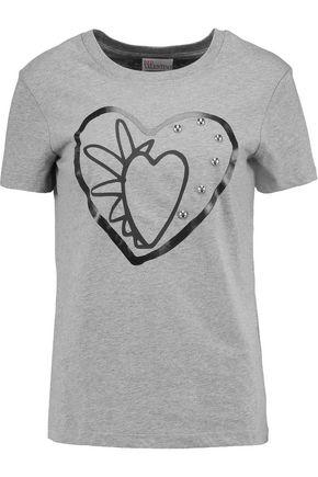REDValentino Embelished printed slub cotton T-shirt