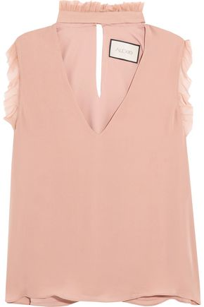 ALEXIS Lilibeth ruffled cutout silk crepe de chine top