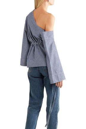 SOLACE LONDON One-shoulder striped denim top
