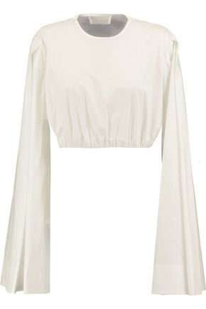 SOLACE LONDON Erykah cropped cotton-poplin top
