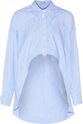 OPENING CEREMONY Asymmetric cropped striped cotton-poplin shirt